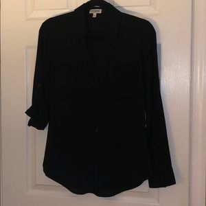 Tops - black sheer button up